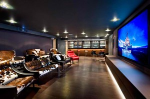 Large Home Theater & Bar Area